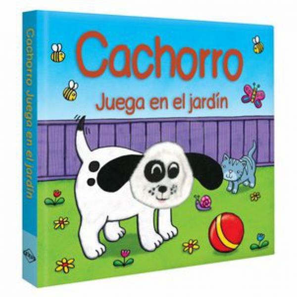CACHORRO JUEGA EN EL JARDIN TITERE DEDO