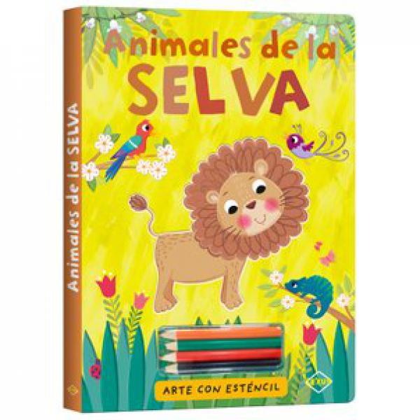 ANIMALES DE LA SELVA ARTE CON ESTENCIL
